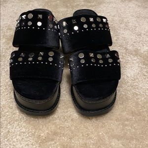 Black stud detail flatform sandals